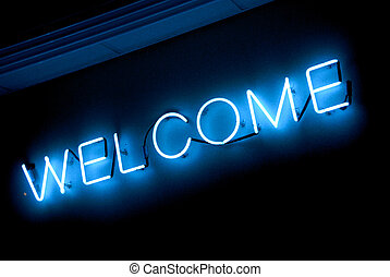 neon WELCOME sign