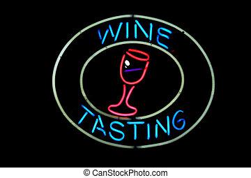 Neon Wine Tasting sign on black background