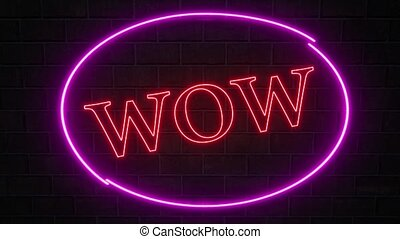 Neon wow sign pink blink 4k