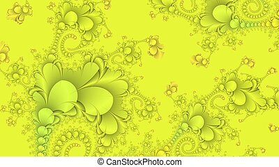 Neon yellow abstract fractal background