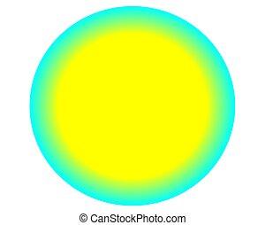 neon yellow blue circle ball on white background