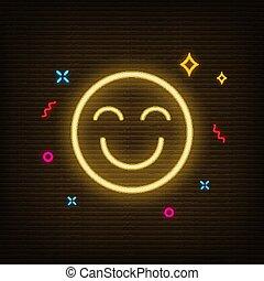 Neon Yellow Emoji Happy Icon Vector