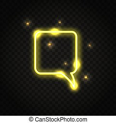 Neon yellow square speech bubble with space for text