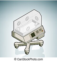 Neonatal intensive-care unit (part of the Hospital Hardware Isometric 3D Icons Set)
