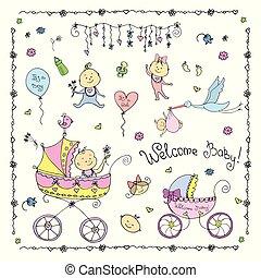 neonato, bambini, accessori, oggetti, set