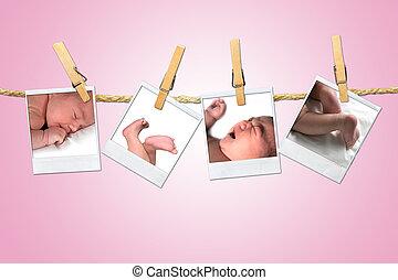 neonato, colpi, corda, appendere, clothespins, infante