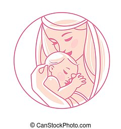 neonato, logotype., hands., bambino, madre