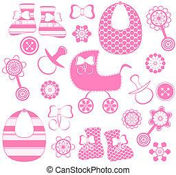 neonato, ragazza, vettore, collezione, illustrazione