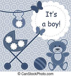 neonato, ragazzo, cartolina auguri