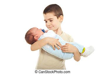 neonato, ragazzo, suo, fratello, presa a terra