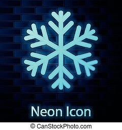 neonsnowflake, 壁, 隔離された, イラスト, バックグラウンド。, 白熱, ベクトル, れんが, アイコン