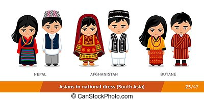 Nepal, Afghanistan, Butane. Men and women in national dress. Set of asian people wearing ethnic clothing. Cartoon characters in traditional costume. South Asia. Vector flat illustration.