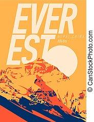 nepal, berg, draußen, poster., illustration., chomolungma, himalayas, porzellan, abenteuer, sonnenuntergang, everest