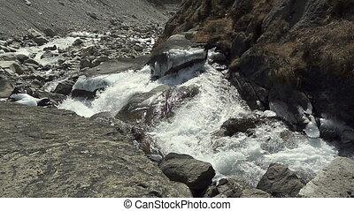 nepal, berge, camp., wandern, panoramisch, führen,...