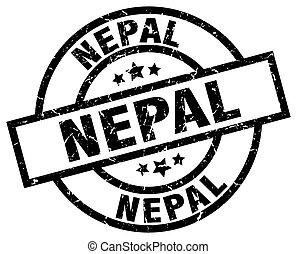 Nepal black round grunge stamp