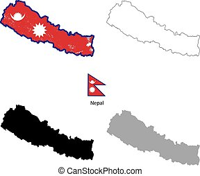 Nepal country black silhouette and with flag on background