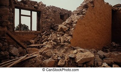 Nepal earthquake destroyed building - Ruined brick house....