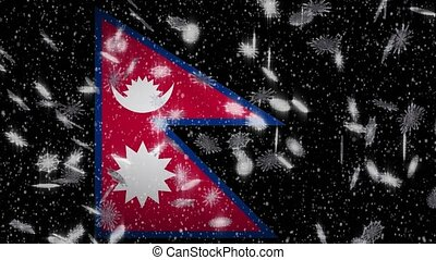Nepal flag falling snow loopable, New Year and Christmas background, loop