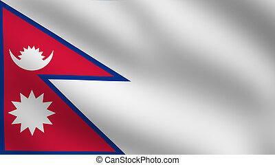 Nepal flag map. Nepal country flag map shape national symbol.