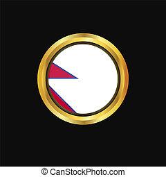 Nepal flag Golden button