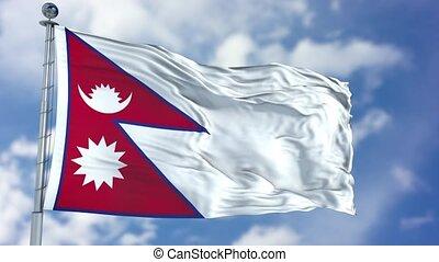 Nepal Flag in a Blue Sky