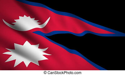 Nepal flag Motion video waving in wind. Flag Closeup 1080p HD footage