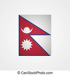 Nepal flag on a gray background. Vector illustration