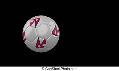 Nepal flag on flying soccer ball on transparent background, alpha channel