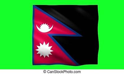 Nepal flag on green screen for chroma key