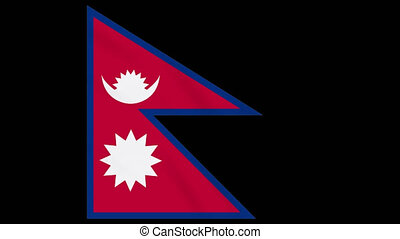 Nepal flag waving cloth on transparent alpha, loop
