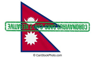 Nepal flag with green stamp of freedom from coronavirus, loop