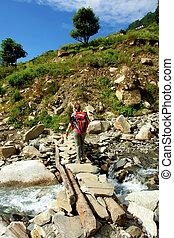 nepal, gebied, annapurna, opslag, trekkers, himalayan, bergen