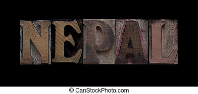 Nepal in old wood type