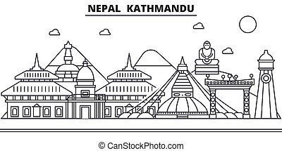 Nepal, Kathmandu architecture line skyline illustration. Linear vector cityscape with famous landmarks, city sights, design icons. Editable strokes