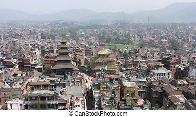 Flying with drone above Bhaktapur in Kathmandu, Nepal