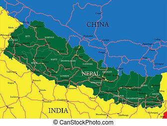 nepal, landkarte