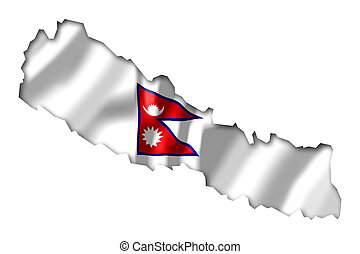 Nepal - map and flag illustration.