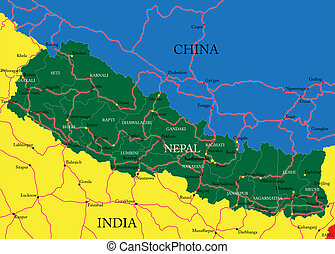 Highly detailed vector map of Nepal with administrative regions, main cities and roads.