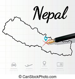 Nepal map Infographic