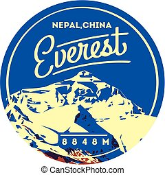 nepal, montaña, al aire libre, illustration., chomolungma, himalaya, badge., china, aventura, everest