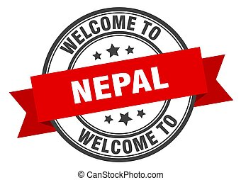 NEPAL - Nepal stamp. welcome to Nepal red sign