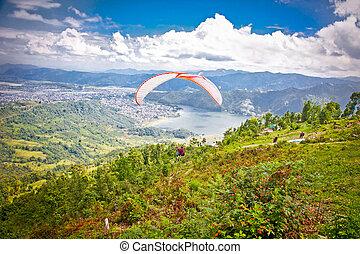 Nepal, od,  Pokhara, wziąć,  sarangkot,  Paragliders, dolina