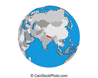Nepal on 3D globe isolated