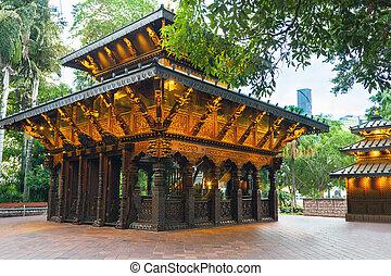 nepal, paz, pagoda, en, banco de sur, parklands, en,...
