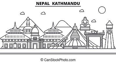 nepal, schläge, sehenswürdigkeiten, design, cityscape, landschaftsbild, vektor, kathmandu, skyline, stadt, linear, editable, icons., wahrzeichen, linie, architektur, illustration., berühmt, wtih