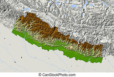 Nepal, shaded relief map. Colored according to elevation. ...