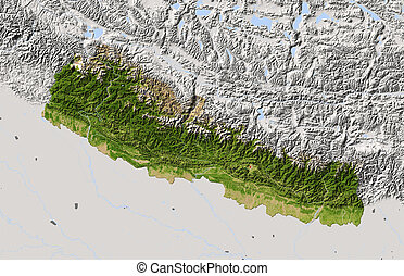Nepal, shaded relief map. Colored according to vegetation. ...
