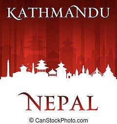 nepal, silhouette, stadt, hintergrund, kathmandu, rotes , skyline