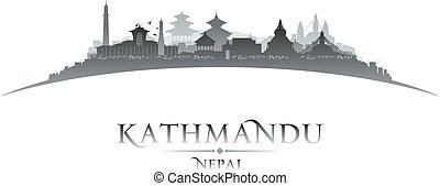 nepal, silhouette, stadt, hintergrund, weißes, kathmandu, skyline