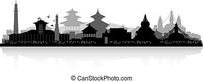 nepal, silhouette, stadt, kathmandu, skyline